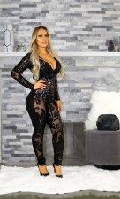 Plus Size Slim Sequins See-through Deep V Nightclub Jumpsuits NY-8522