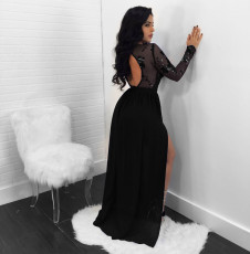 Sexy Backless Sequined See-through Lace Split Long Dress NY-8873