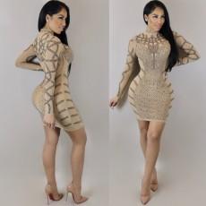 Sexy Hot Rhinestone Long Sleeve Club Dress NY-8496