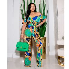 Sexy Printed Off Shoulder Jumpsuit NK-8605