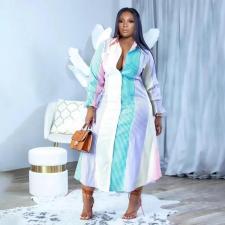 Plus Size Striped Long Sleeve Maxi Dress WLDF-80448