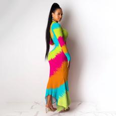 Print Irregular Hem Slim Long Sleeve Maxi Dress NY-8862