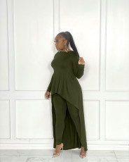 Solid Long Sleeve Irregular Top And Pants 2 Piece Sets JRF-3662