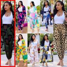 Plus Size Casual Printed Long Cloak And Pants 2 Piece Sets (Without Vest ) NY-8576