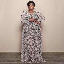 Plus Size Mesh Printed Long Sleeve Maxi Dress NNWF-7333