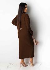 Sexy Long Sleeve Split Skirt Two Piece Sets NY-8872