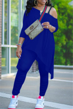 Plus Size Irregular Hem Long Sleeve And Ruched Pants Two Piece Sets NY-2015
