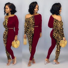 Plus Size Leopard Splice Long Sleeve And Pants 2 Piece Sets NY-8856