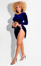 Sexy Velvet Long Sleeve Hollow Out Split Club Dress BS-1293