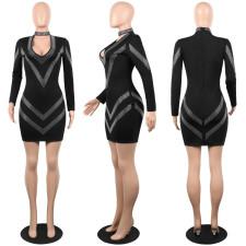 Sexy Hot Drilling V Neck Long Sleeve Bodycon Dress FSXF-FS82