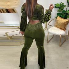 Plus Size Long Sleeve Crop Top Flared Pants 2 Piece Sets HGL-1753