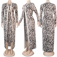 Printed Long Cloak And Wrapped Dress 2 Piece Sets NY-2073
