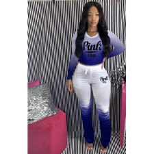 Plus Size Pink Letter Print Gradient Long Sleeve Stacked Pants Set HGL-1736
