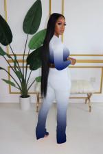 Plus Size Lip Print Gradient Long Sleeve Stacked Pants 2 Piece Sets HGL-1398