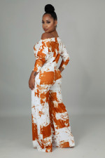 Sexy Off Shoulder Long Sleeve Print Jumpsuit NY-10002
