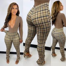 Plus Size Plaid Skinny Split Stacked Pants HGL-1746