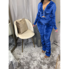 Plus Size Velvet Hooded Zipper Ruched 2 Piece Sets HGL-1539