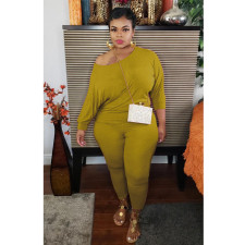 Plus Size Casual Solid Color Long Sleeve Pants Two Piece Sets NY-8918