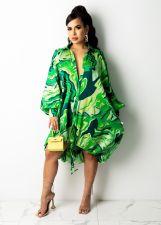 Casual Print Long Sleeve Midi Dress NY-2201