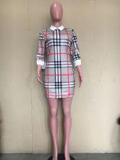 Plaid Print 3/4 Sleeve Mini Dress ORY-5215