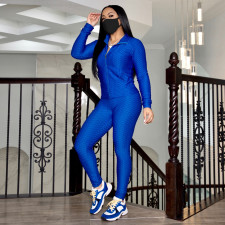 Solid Long Sleeve Zipper Two Piece Pants Set (Without Mask)TE-4344