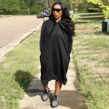 Plus Size Solid Hooded Long Sleeve Loose Midi Dress HGL-1726