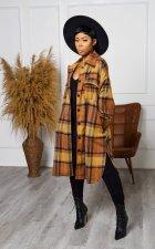 Plus Size Plaid Full Sleeve Split Long Coat HGL-1749