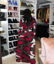 Plus Size Printed Long Sleeve Maxi Dress HGL-1256