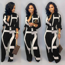 Plus Size Casual Printed Long Sleeve Sashes Jumpsuit LSD-8165
