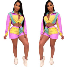 Color Block Long Sleeve Shorts Sports Casual  Two Piece Sets OSM-5240