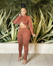 Solid Sexy Crop Top And Pants Slim Two Piece Sets HMS-5519
