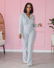 Solid Zipper Hoodie And Pants Two Piece Sets LSD-81074