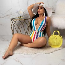 Colorful Stripes Backless Halter Sexy One Pieces Swimwear LQ-5002