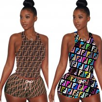 Printed Tank Tops And Shorts 2 Piece Set TE-3661