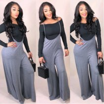 Tops And Suspender Wide Leg Pants Set SMD-6642