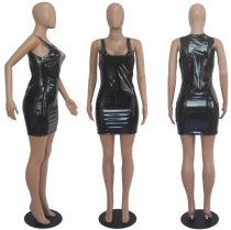 Black Sleeveless Leather Mini Club Dress SHD-9015
