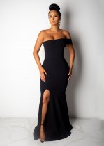 Sexy Strapless High Split Bodycon Maxi Evening Dresses LUO-6200