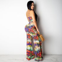 Sexy Printed Spaghetti Strap Sashes Long Jumpsuit SH-3603