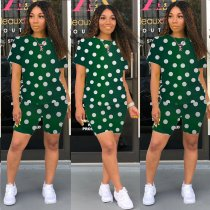 Plus Size Polka Dot Print Casual Two Piece Outfits LQ-5082