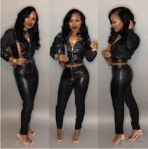 Black Leather Turtleneck Two Piece Outfit LSD-8232