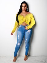 Yellow Pearl V Neck Long Sleeve Crop Tops OY-5273
