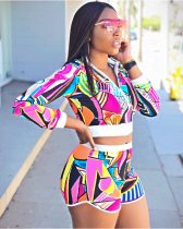 Geometric Printed Jacket Shorts Set LUO-6101