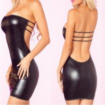 Black Leather Backless Wetlook Dress FQQ-0945