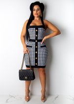 Houndstooth Print Straps Sleeveless Button Bodycon Dress SHD-9148