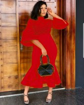 Red Mesh Patchwork Ruffles Turtleneck Maxi Dress WY-6497