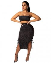 Sexy Tube Top Lace Up Hollow Skirt 2 Piece Set MDO-8025