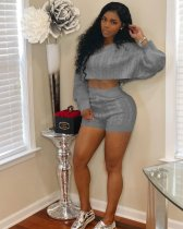 Gray Knit Sweater Tops+Bodycon Shorts Suit MOS-834