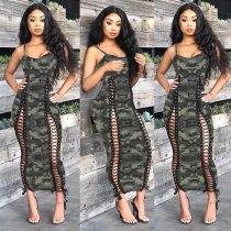 Camouflage Print Spaghetti Strap Lace Up Slim Maxi Dress HZM-001