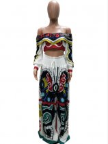 Butterfly Print Off Shoulder Long Skirt Set 2 Piece Set LSD-8272