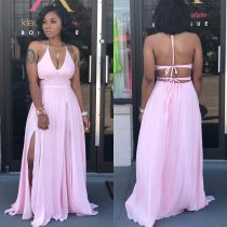 Sexy Halter Backless High Split Long Maxi Dresses JH-118